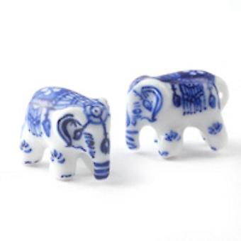 Dolls House Blue Delft Ornamental Elephants Miniature Accessory