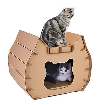 Pet Cat Carton Scratcher Cat Face Lounge House Pentru Dormit Zgarieturi Play
