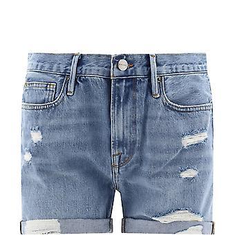 Frame Lbuscf385elseyrip Women's Blue Cotton Shorts