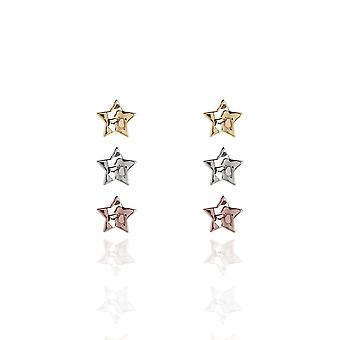 Joma Jewellery Florence Hammered Star Silver Rose Gold Yellow Gold Earring Set 3262