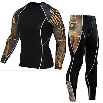 Men Running Sport T-shirt Pants/suits Jogging Tracksuit Sets, Gym Training