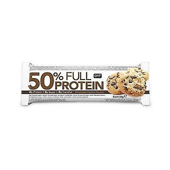 QNT 50% volledige proteïne Bar behoud van spier massa (chocolade cookie) 12 X 50g