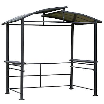 Outsunny 2.4 x 1.5m Grill Gazebo Outdoor BBQ Gazebo Canopy with Side Shelves Hanging Poles Great Ventilation PC Board