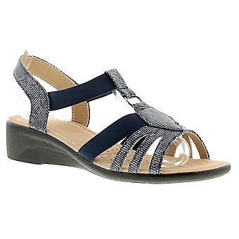 Dr Keller Dr Kelly Womens Ladies Wedge Sandals Navy UK Size