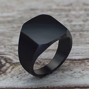 Simple Style Black Square Ring