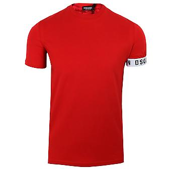 Dsquared2 men's red cuff detail t-shirt