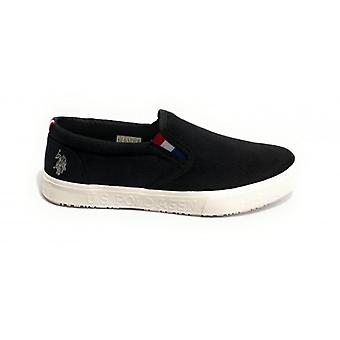 Shoes Us Polo Men's Slipon Mod. Joshua Canvas Vulcanized Black Us20up30