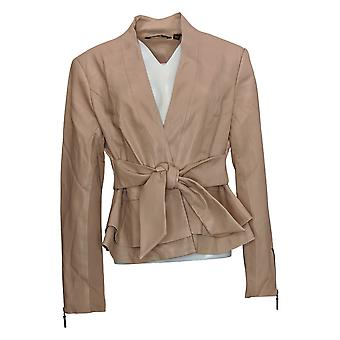 G.I.L.I. Women's Tie Front Faux Leather Jacket Pink A293038