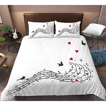 3d Digital Duvet Cover Music Note Printed Bedding Set