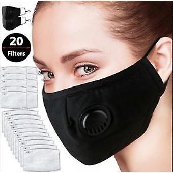 Kn95 Kasvonaamio Pölynaamari Saastesuojat Pm2.5 Aktiivihiilisuodattimen insertti voidaan pestä uudelleenkäytettäväksi isolaattivirukseksi (2 maskia 10 suodatinta)