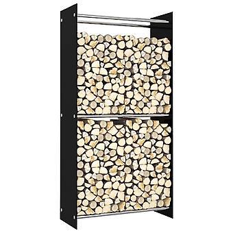 Firewood Rack Black 80x35x160 Cm Glass
