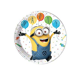 8 Assiettes en carton Minions ballons party 23 cm