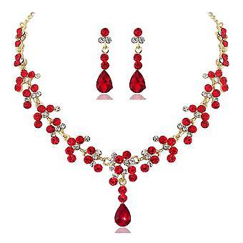 Crystal Bridal Wedding Jewelry Sets - Women Rhinestone Necklace Long Earrings