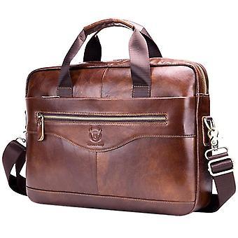 Bullcaptain äkta läder män & portfölj vintage affärsdator väska mode messenger väskor man axelväska brevbärare