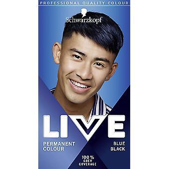 Schwarzkopf Live Permanent Haarfarbe für Männer blau schwarz 090 - Packung mit 3