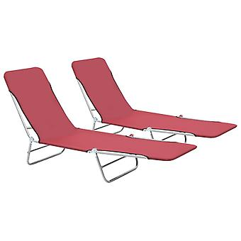 vidaXL fällbara bord 2 st. stål och tyg röd