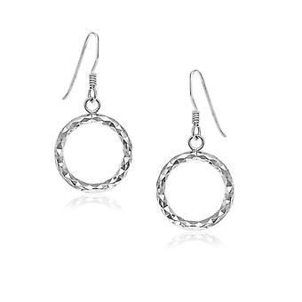 Sterling Silver Textured Open Circle Drop Style Earrings