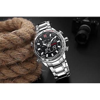 יוקרה גברים של כרונו ספורט שעונים מותג צבאי עמיד למים EL BackLight שעונים דיגיטליים (כסף)