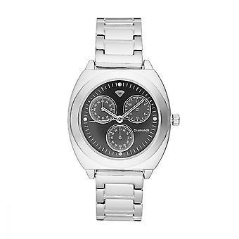 Dameshorloge Lily Diamonds 0.012 karaat - Zwarte wijzerplaat Zilveren metalen armband