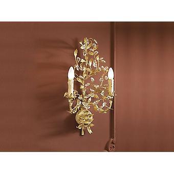 Schuller Verdi - 2 Lâmpada de Parede de Vela de Cristal Leve Branca, Folha de Ouro, E14