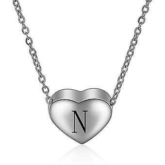 Sterling Silver Initial Necklace Letter N