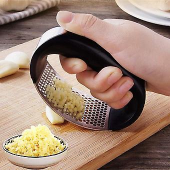 Stainless Steel Garlic Press Manual Garlic Grinder Grater Ginger Press Kitchen Accessories(black)