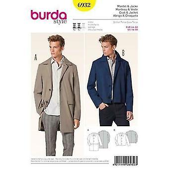 Burda Schnittmuster 6932 Herren Mantel Jacke Menswear Größe 34-50 ungeschnitten