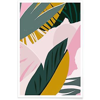 JUNIQE Print - Skyggefulde palmer - Blade og planter Plakat i farverige og grønne
