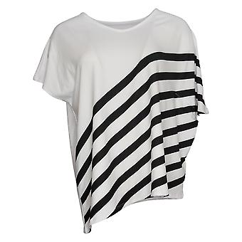Elizabeth & Clarke Women's Top 2XS (XXS) Striped Tunic Asymmetric Hem White