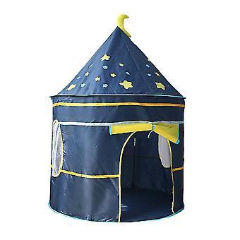 Μπλε d105x135cm παιδικό εσωτερικό παιχνίδι σκηνή κάστρου και πολύχρωμες σημαίες homi2620