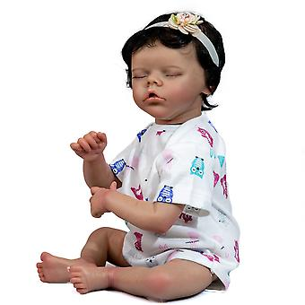 50Cm reborn soft body baby handmade twin b black skin african american baby girl doll handrooted hair collectible art doll
