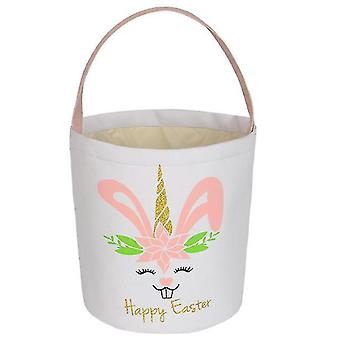 Easter Bunny Basket Egg Bags For Kids, Candy Egg Basket Rabbit  Print Buckets(Pink)