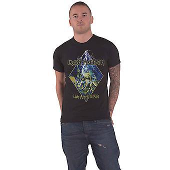 Iron Maiden T Skjorte Live Etter Death Diamond Band Logo Ny Offisiell Mens Black