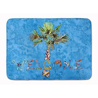 I tesori di Caroline accolgono la palma sul tappetino blu, 19 x 27, multicolore