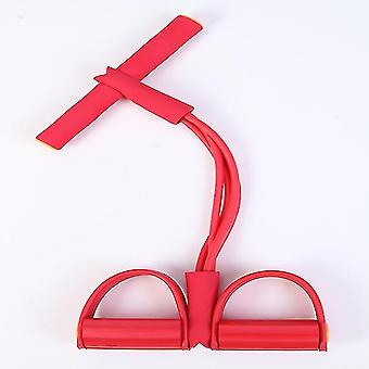 4pcs Widerstand Zug Seile Exerciser Ruder Bauch Band Home Gym Sport Training (Rot)
