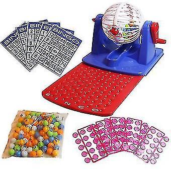 Bingo Tumbler Lotto Lottery Machine 75 Nummererte Baller 4 Kort Familiespill