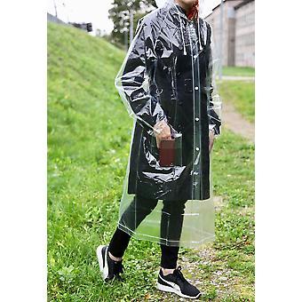 Sade sopii läpinäkyvään uudelleenkäytettävään sadetakkiin