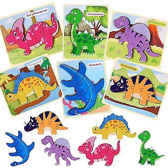 פאזלים פעוטות פאזל עץ דינוזאור לילדים, מתנה חינוכית(סגנון 2)