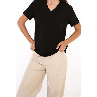 V Cuello Algodón Camiseta Básica