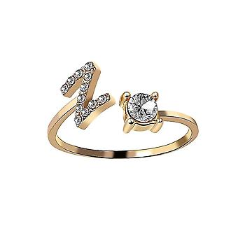 A-z Letter Golden Silver Metal Adjustable Opening Ring, Initials,