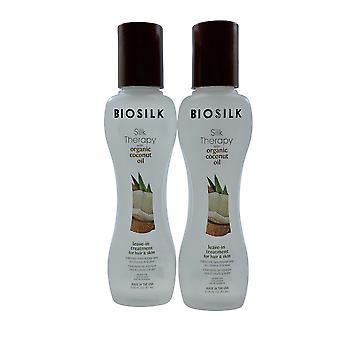 Biosilk Silk Therapy Leave In Treatment Coconut Oil Hair & Skin 2.26 OZ Set of 2