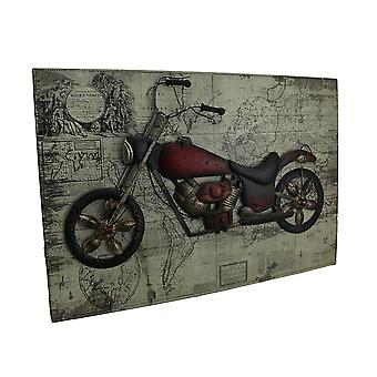 World of Adventure Vintage V-Twin Motorcycle Sculpture On Wood Map Wall Hanging