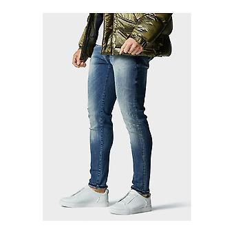 883 Police Moriarty Slim Fit Light Distressed Mid Wash Jeans