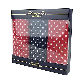 3 Pack Mens/Gentlemens Spot Supersize Print Handkerchiefs, Assorted Colours