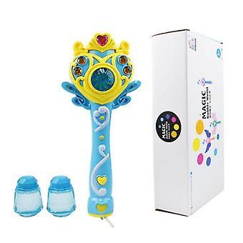 Kinder Elektrische Magie Automatische Seife Bubble Maschine Zauberstab Bubble Gun Gebläse Spielzeug Licht (Blau)