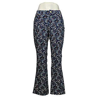 IMAN Global Chic Kvinners Petite Jeans Paisley Mid-Rise Flare Blue 736124