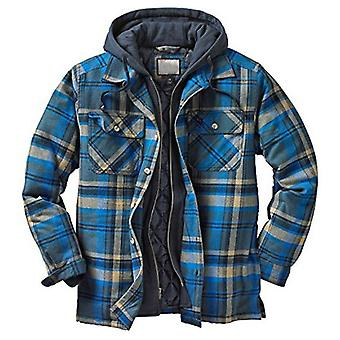 Men's Hooded Coat Casual Thicken Long  Plaid Work  Shirt Jacket
