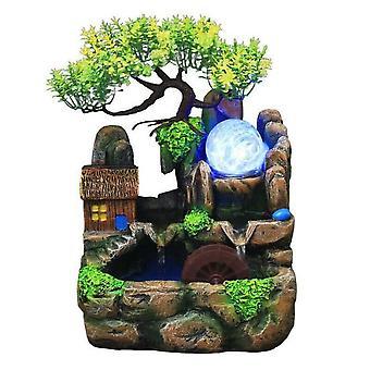 Led Résine Rockery Flowing Water Fountain Feng Shui Wheel Desktop Ornements