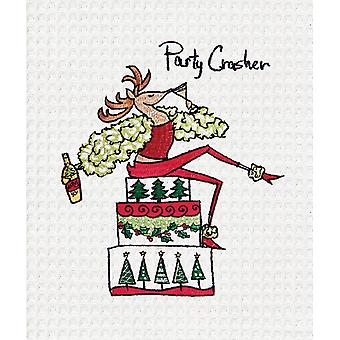 Wee Tipsy Deer Party Crasher Christmas Holiday Kitchen Towel 27 Inches