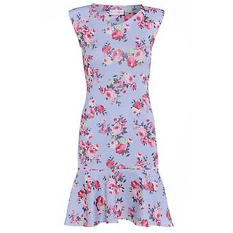 Love2Dress lila blommig Pencil klänning med Peplum fåll UK storlek 10